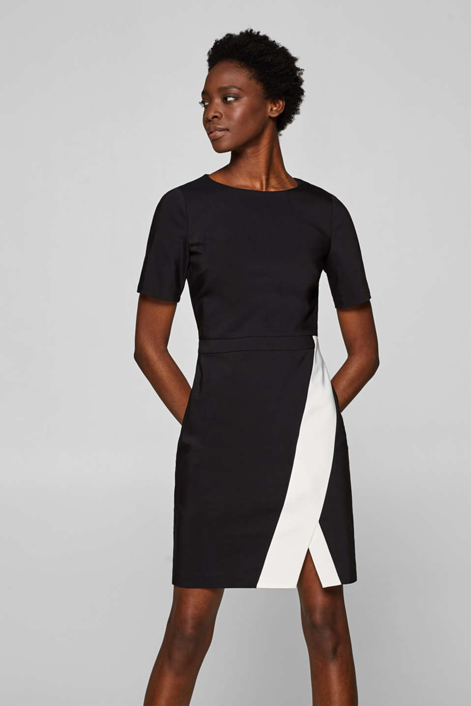 Esprit - Stretch dress with contrast details