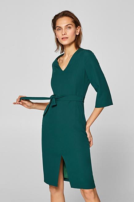 Midi-Stretch-Kleid mit V-Neck und Bindegürtel 887531a40a