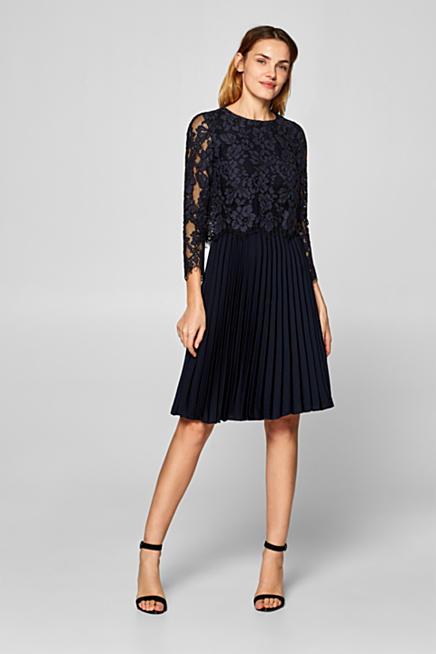 Kleid mit Spitzen-Oberteil und Plissee-Rock. Blau e19a7bffc1