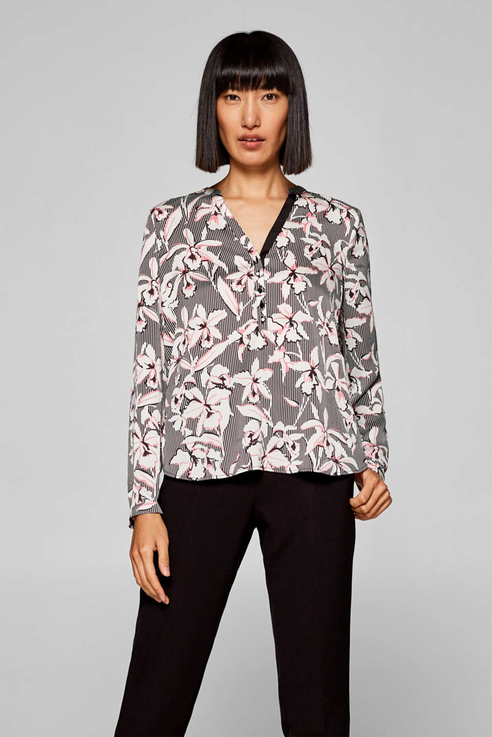 Esprit - Henley blouse with a graphic, all-over print