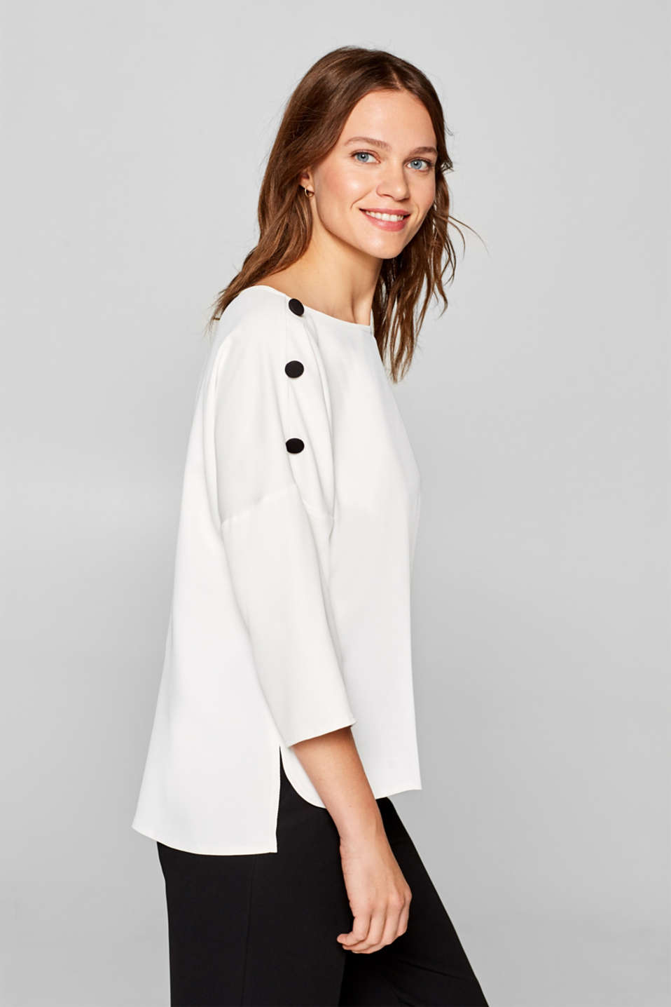 Esprit - Textured batwing blouse with decorative buttons