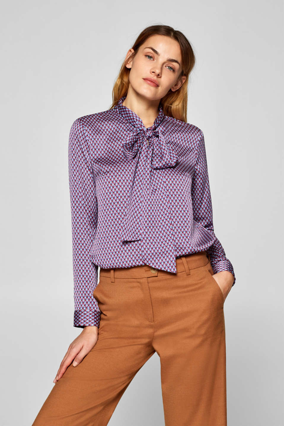 Esprit - Printed blouse with neck ties