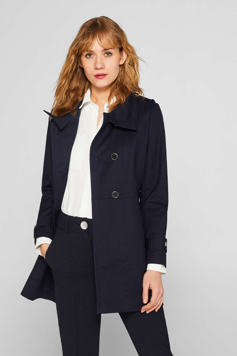 Esprit - Stretch cotton trench coat with a stand-up collar