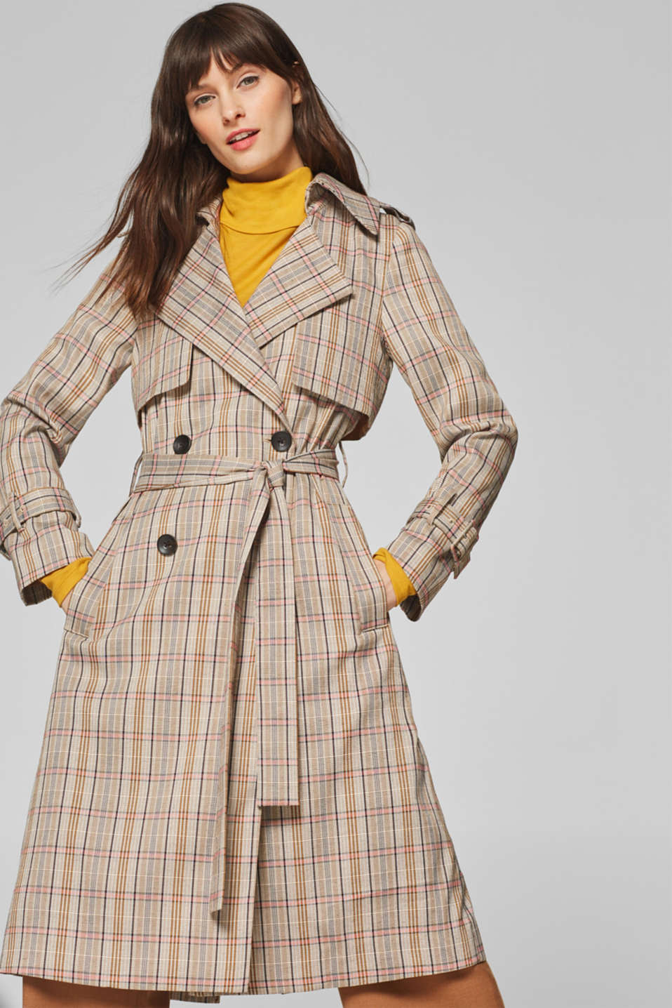 Esprit - Prince of Wales check trench coat