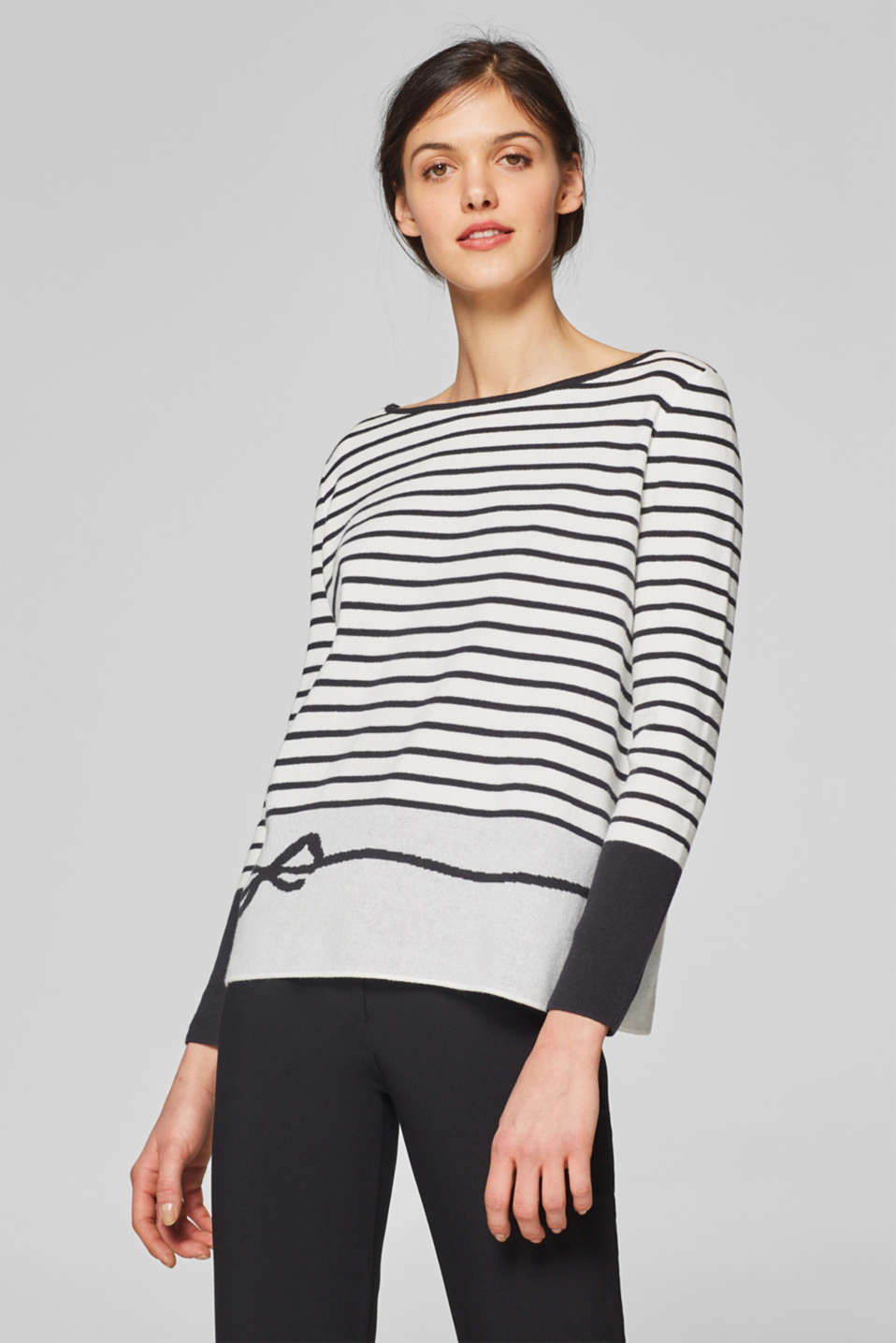 Esprit - Striped jumper with a button placket, 100% cotton