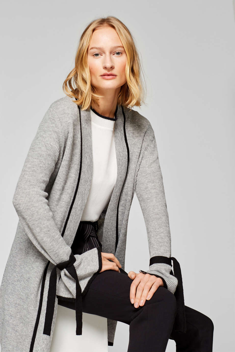 Esprit - With cashmere: long cardigan with lace-up details
