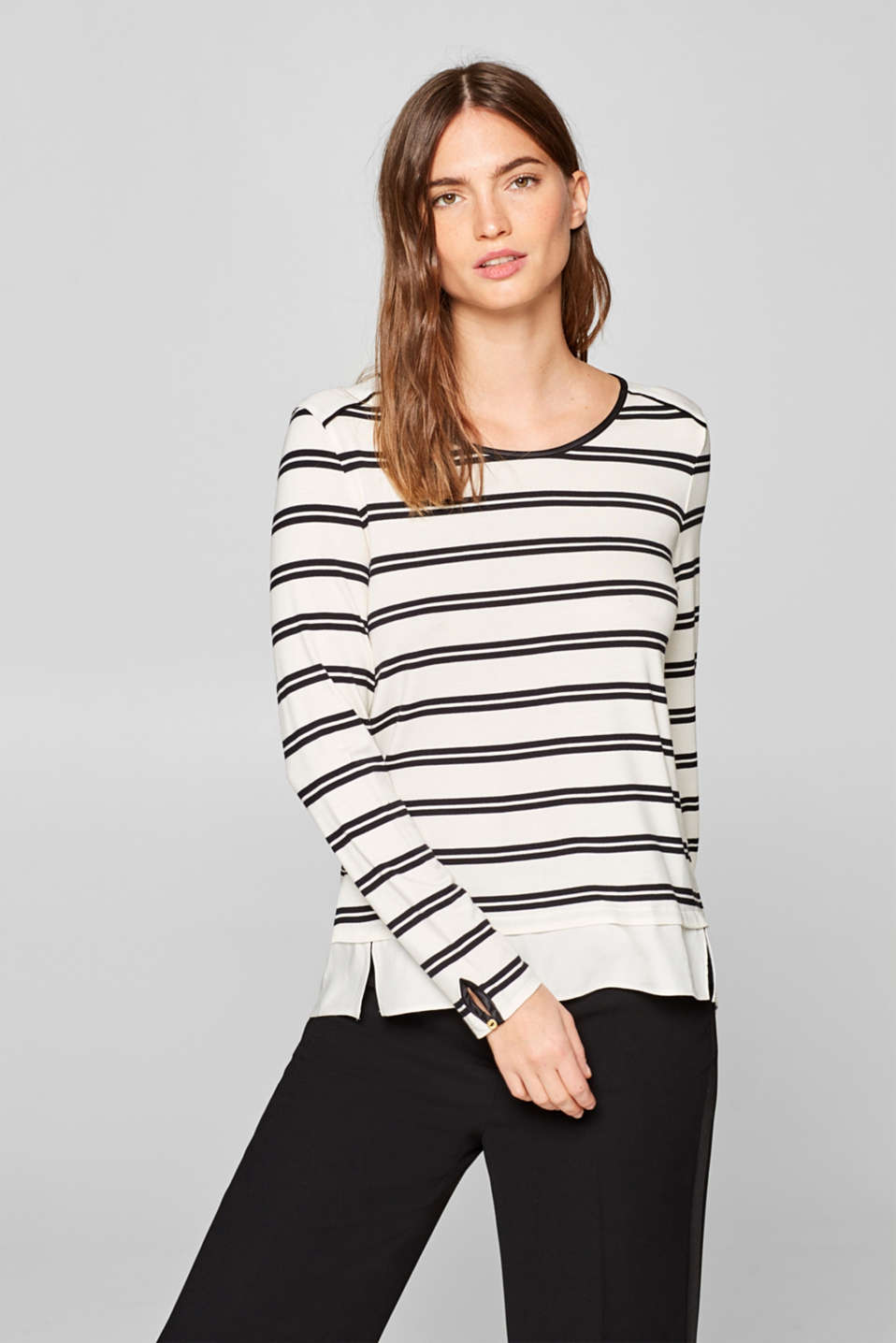 Esprit - Layered-look long sleeve top with back button placket