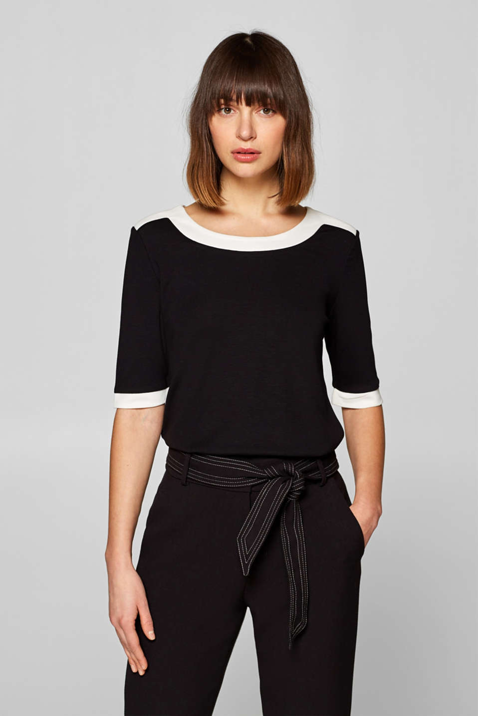 Esprit - Stretch top with contrasting trims