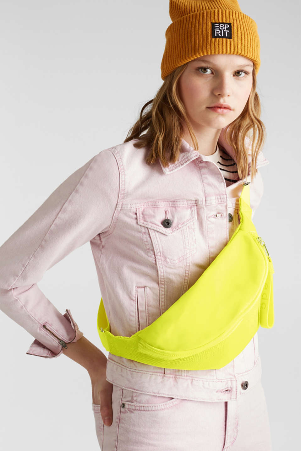 Belt bag in a mix of materials, LIME YELLOW, detail image number 1