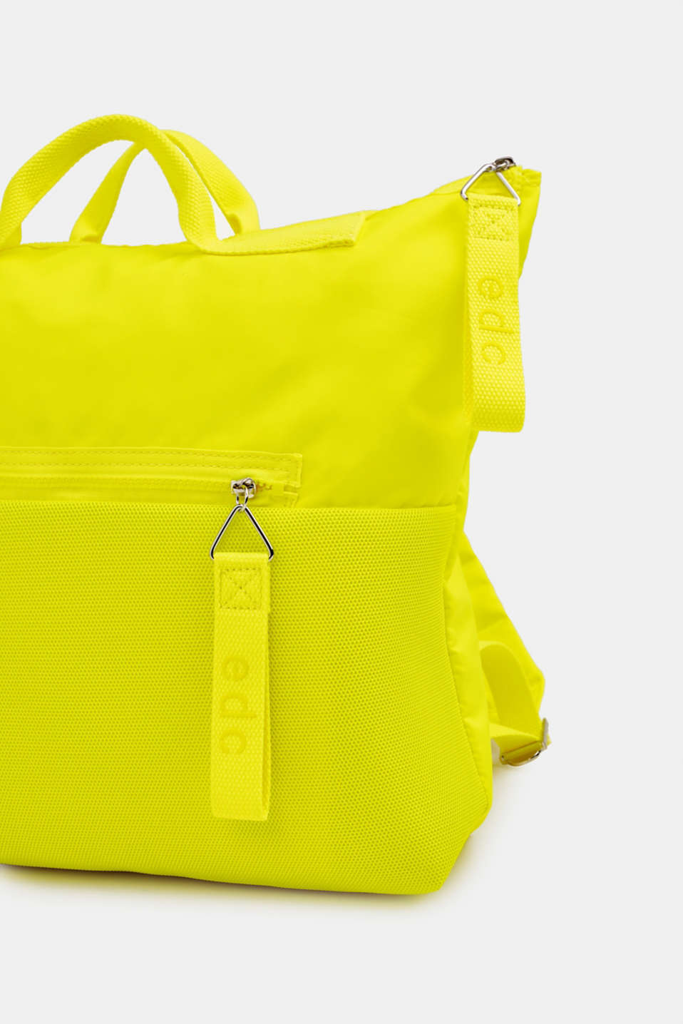 Neon rucksack in a material mix, LIME YELLOW, detail image number 3