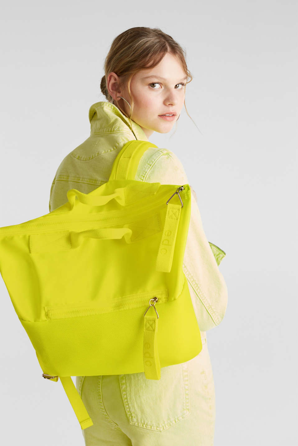 Neon rucksack in a material mix, LIME YELLOW, detail image number 1