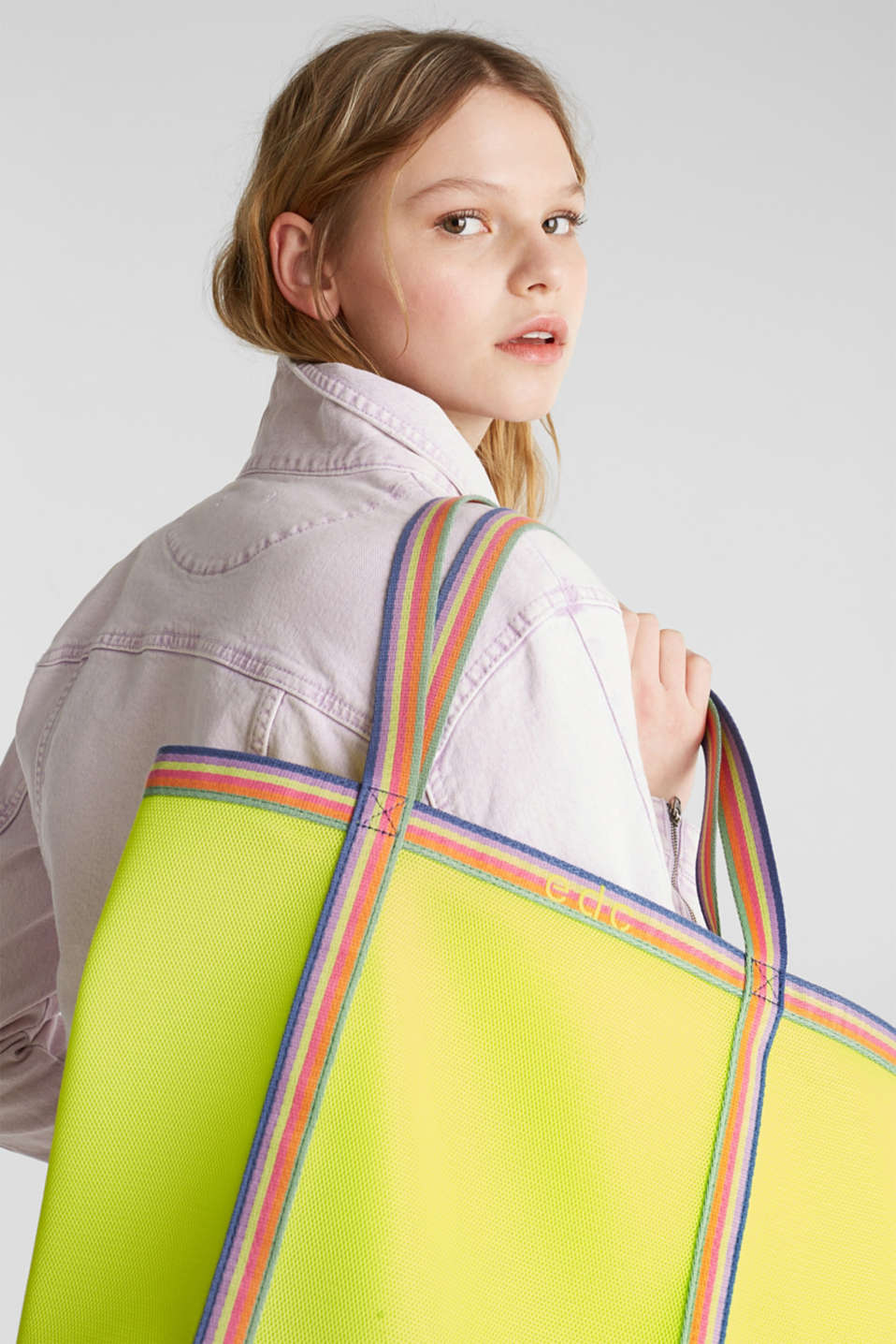 Firm mesh shopper, LIME YELLOW, detail image number 1