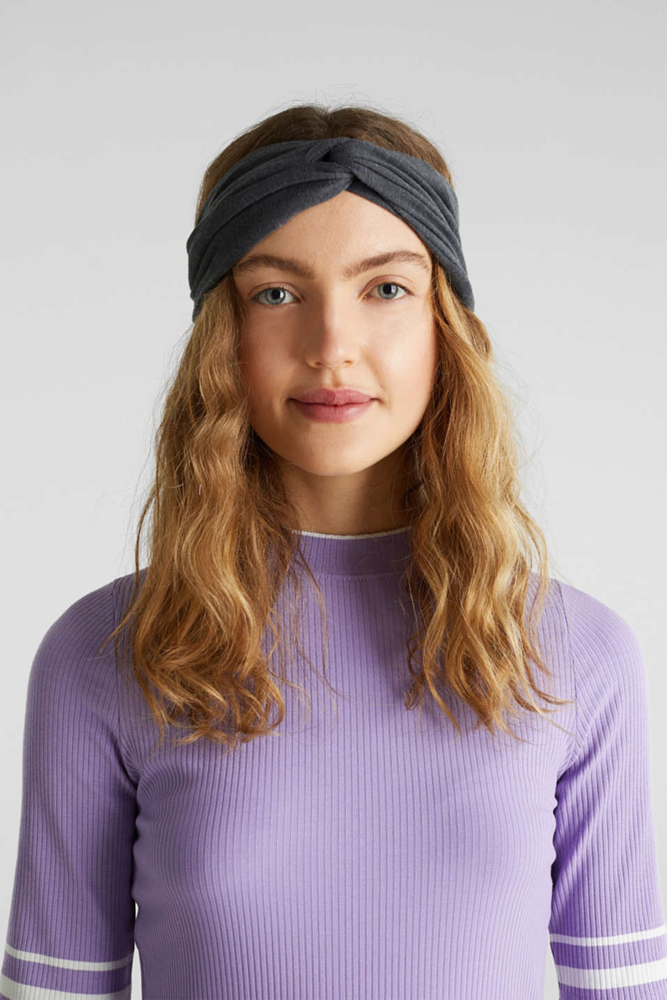Blended cotton jersey headband, DARK GREY, detail image number 2
