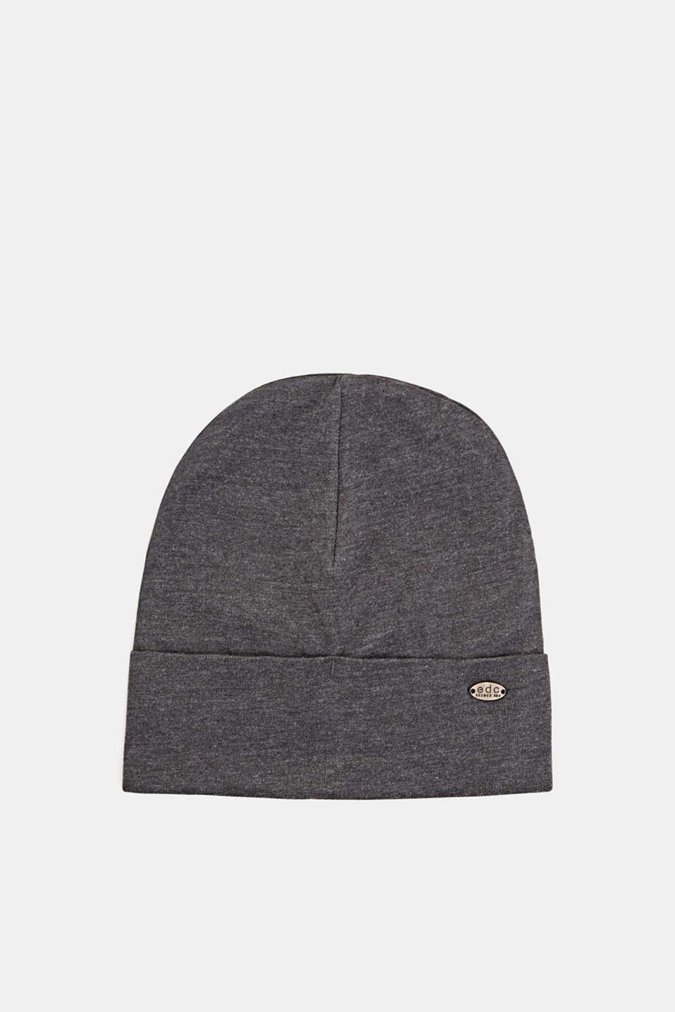 Jersey turn-up cap, DARK GREY, detail image number 0