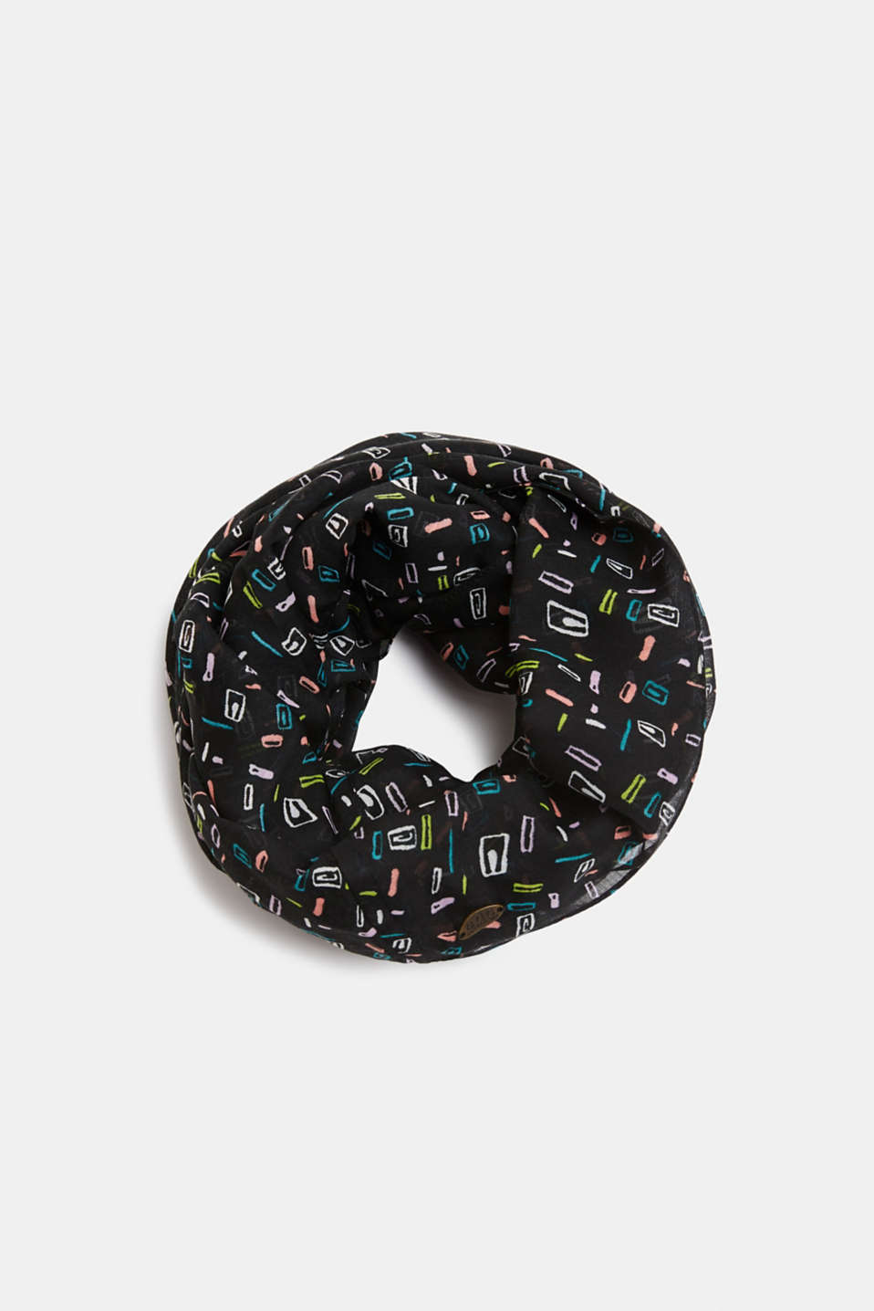 Soft printed snood, recycled, BLACK, detail image number 0
