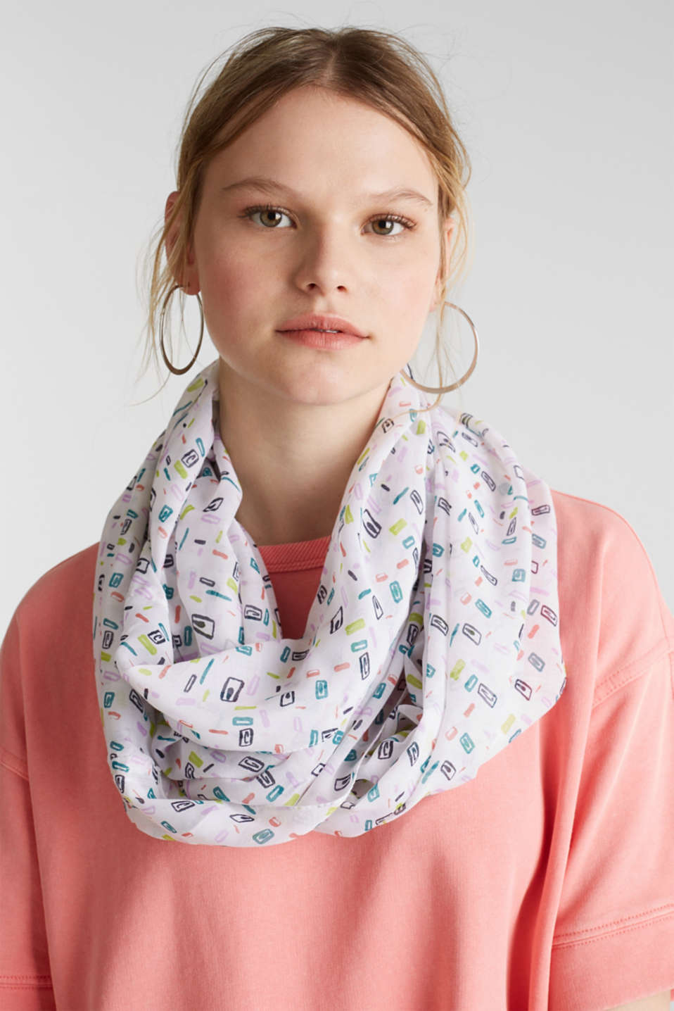 Soft printed snood, recycled, OFF WHITE, detail image number 1
