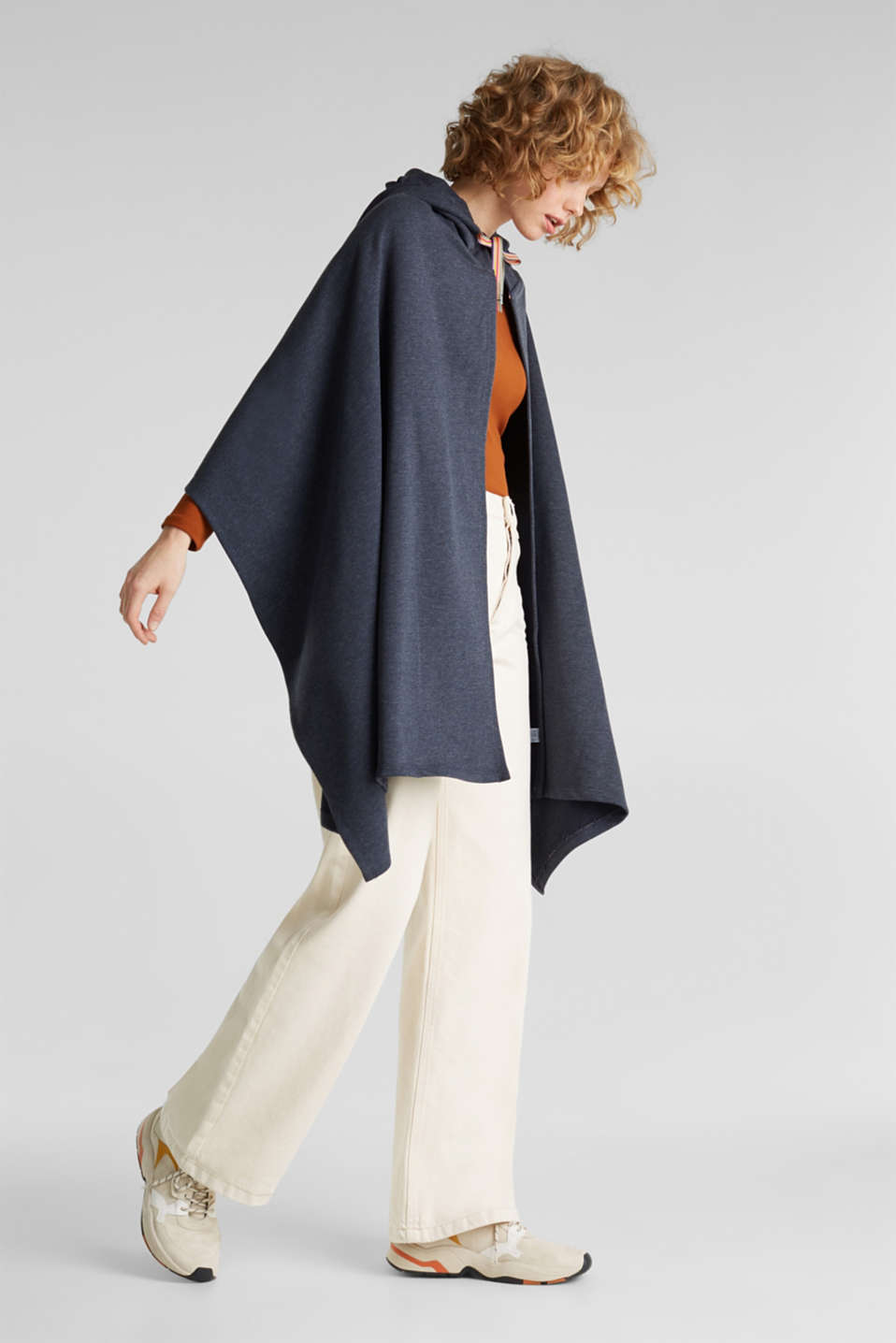 Jersey cape with a hood, NAVY, detail image number 1