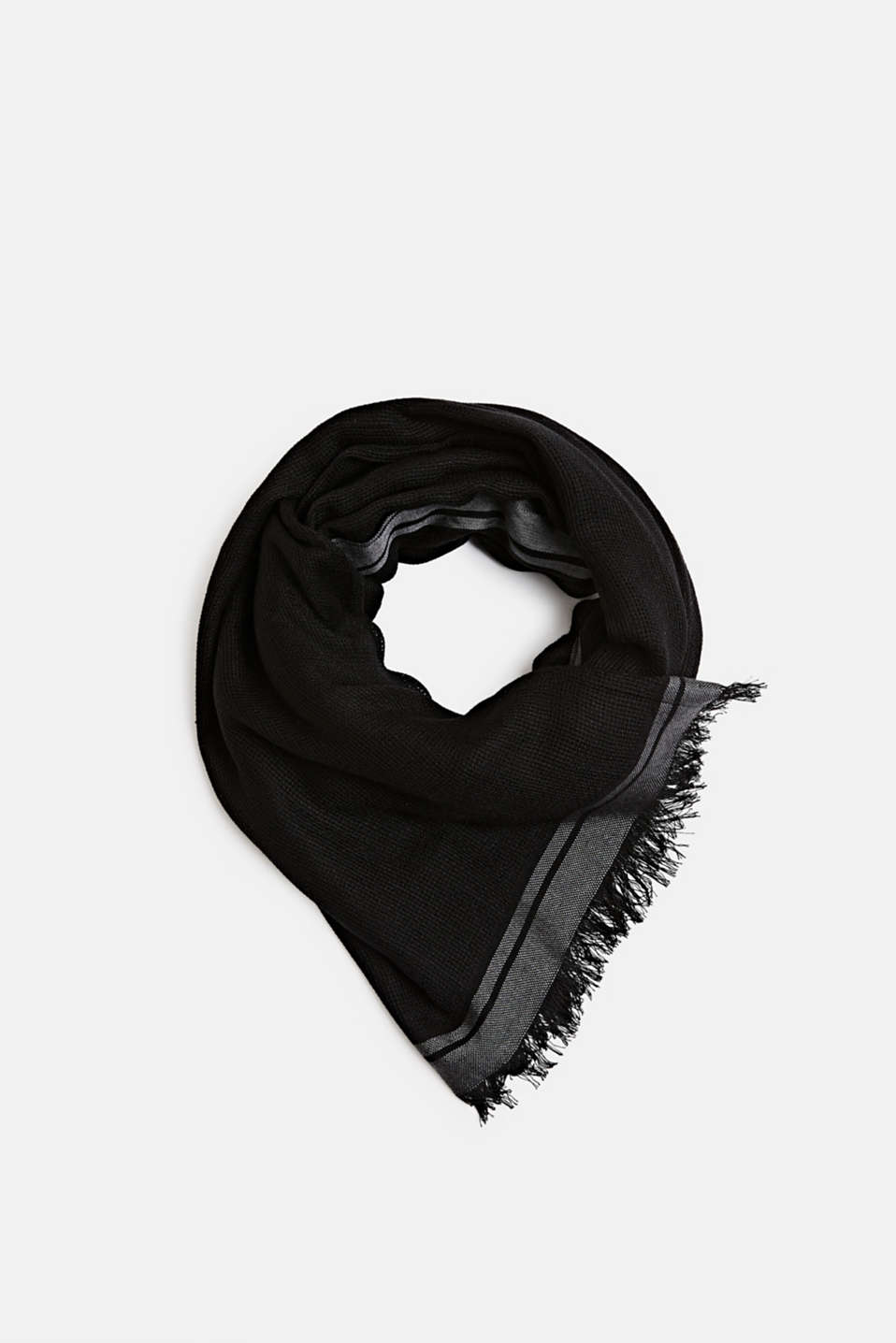Woven scarf with stripes, BLACK, detail image number 0
