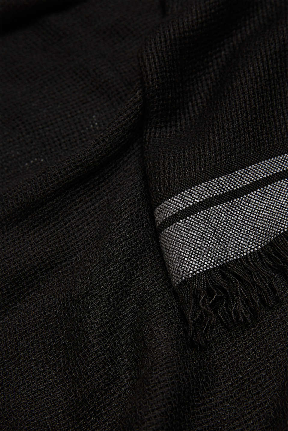 Woven scarf with stripes, BLACK, detail image number 2