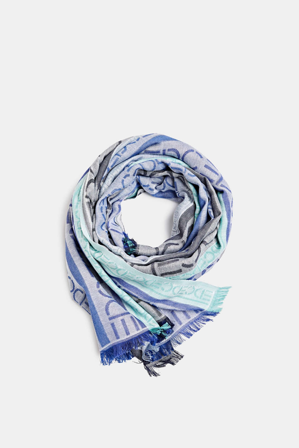 Scarf with an interwoven logo, BRIGHT BLUE, detail image number 0