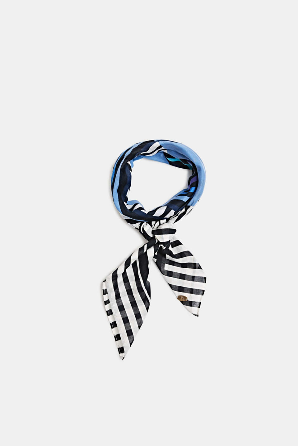 Scarf with stripes, 100% cotton, BRIGHT BLUE, detail image number 0