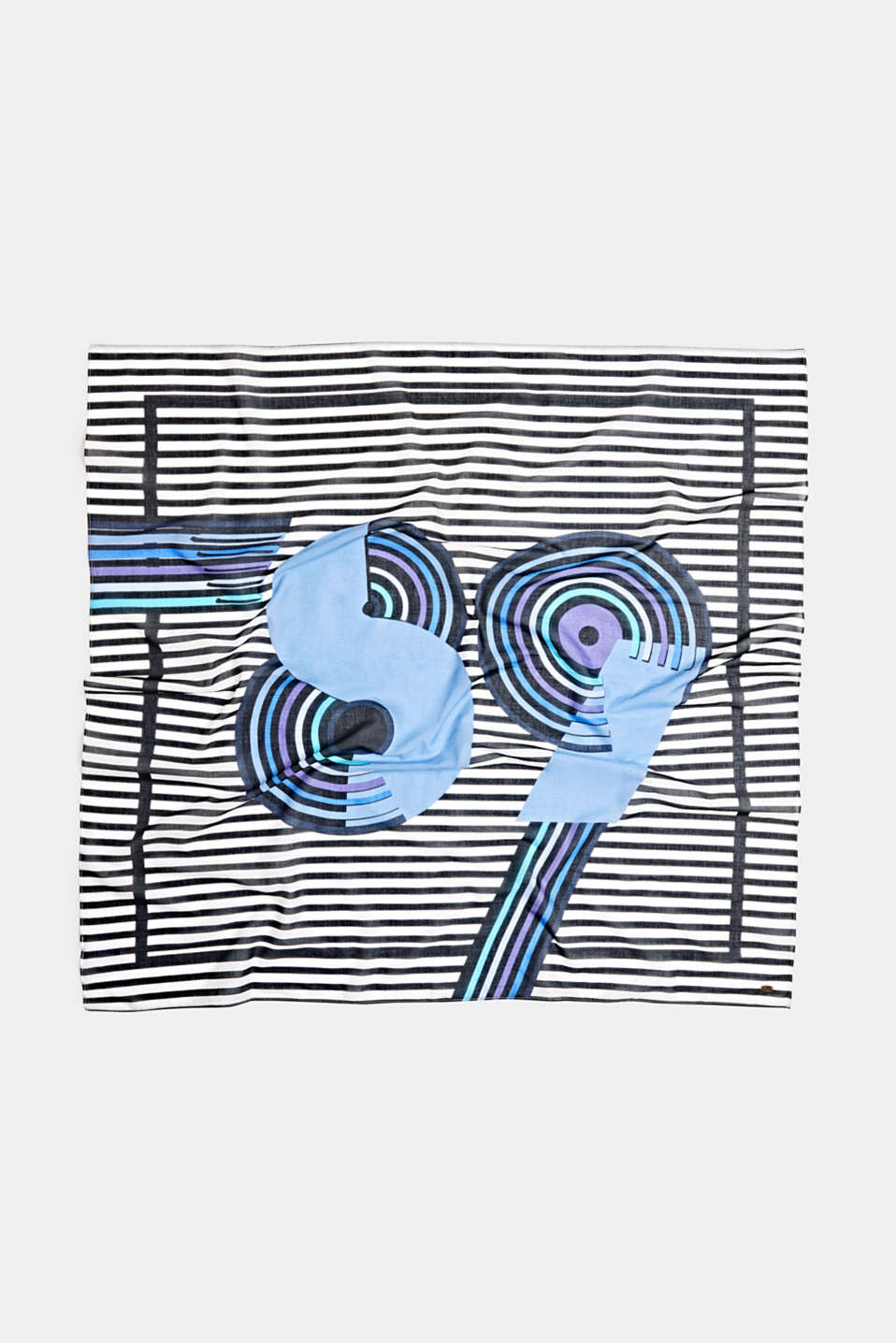 Scarf with stripes, 100% cotton, BRIGHT BLUE, detail image number 2