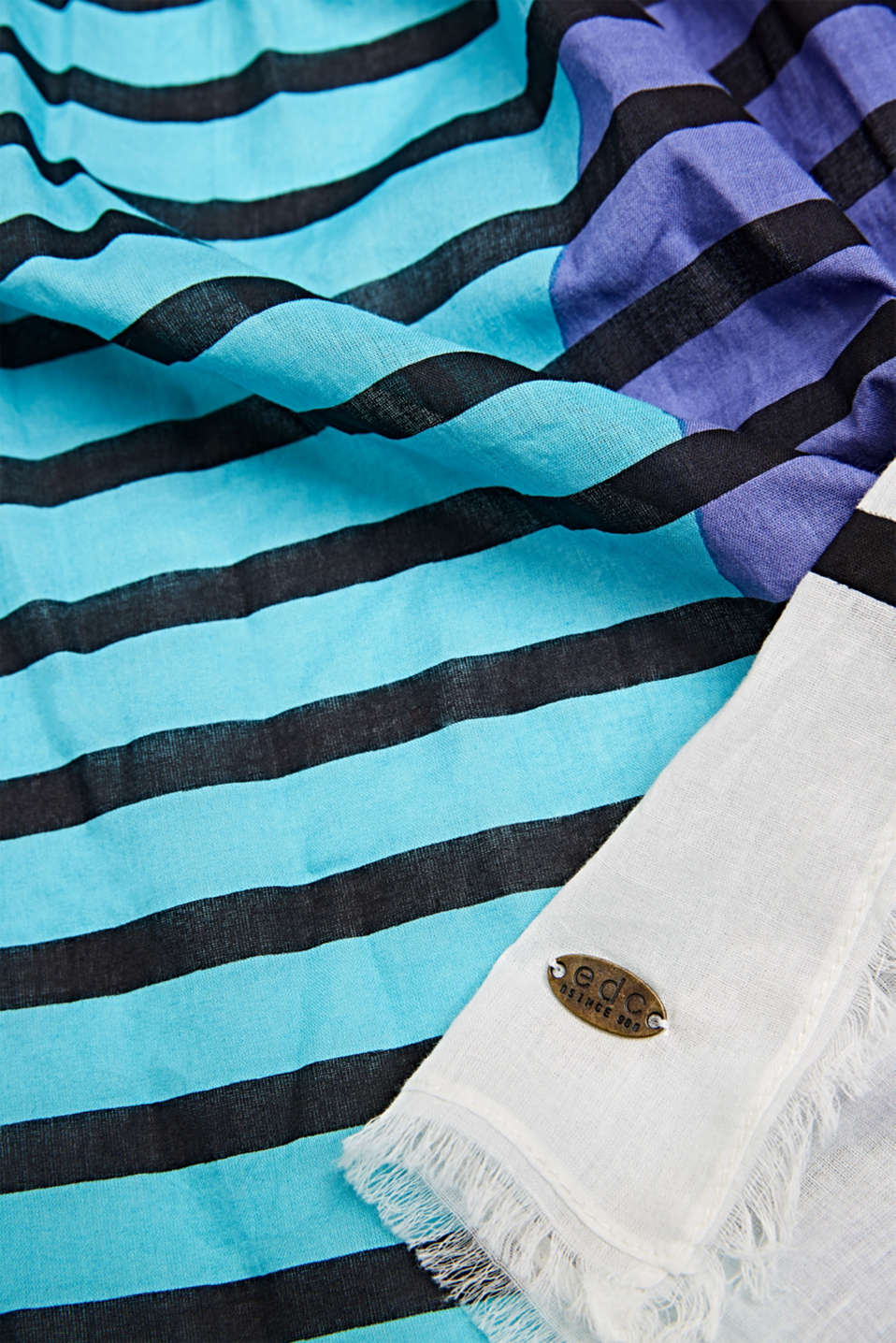 Scarf with multi-coloured stripes, 100% cotton, BRIGHT BLUE, detail image number 2