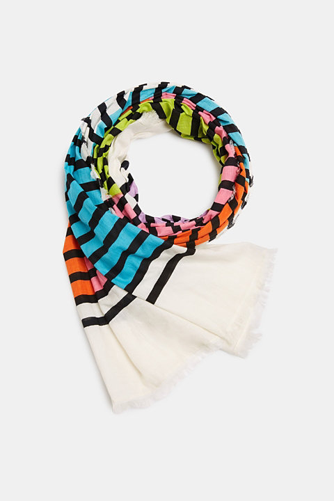 Scarf with multi-coloured stripes, 100% cotton