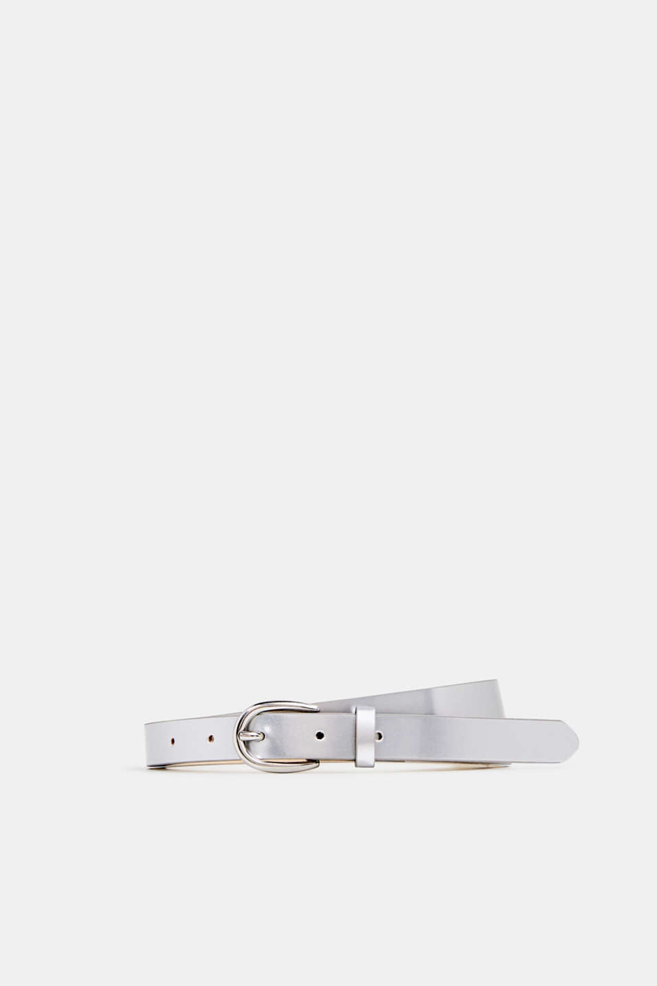 Faux patent leather belt, SILVER, detail image number 0