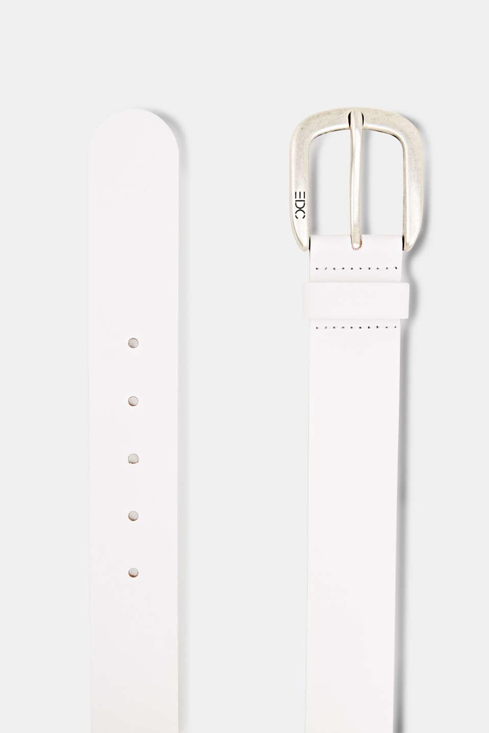 Leather belt, WHITE, detail image number 1