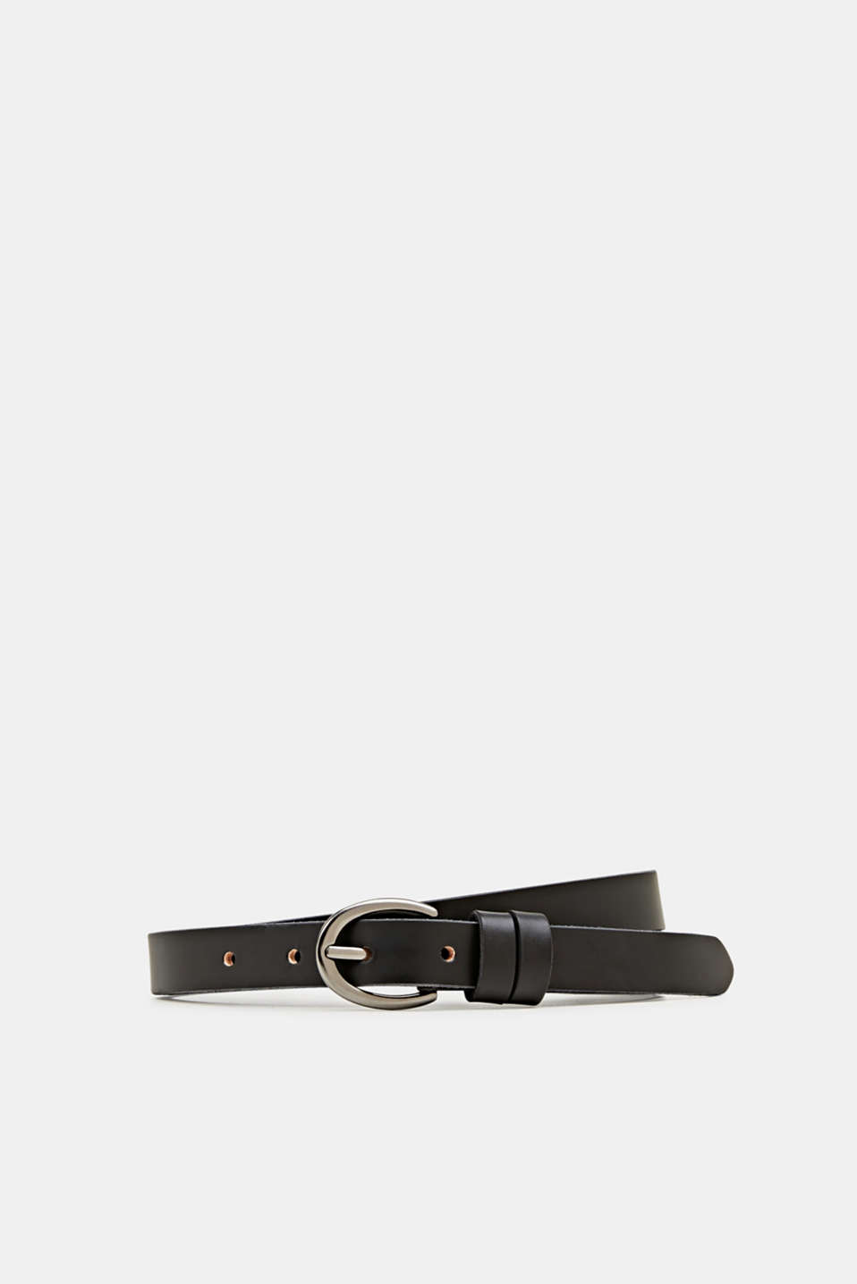 edc - Belt with oval buckle, 100% leather