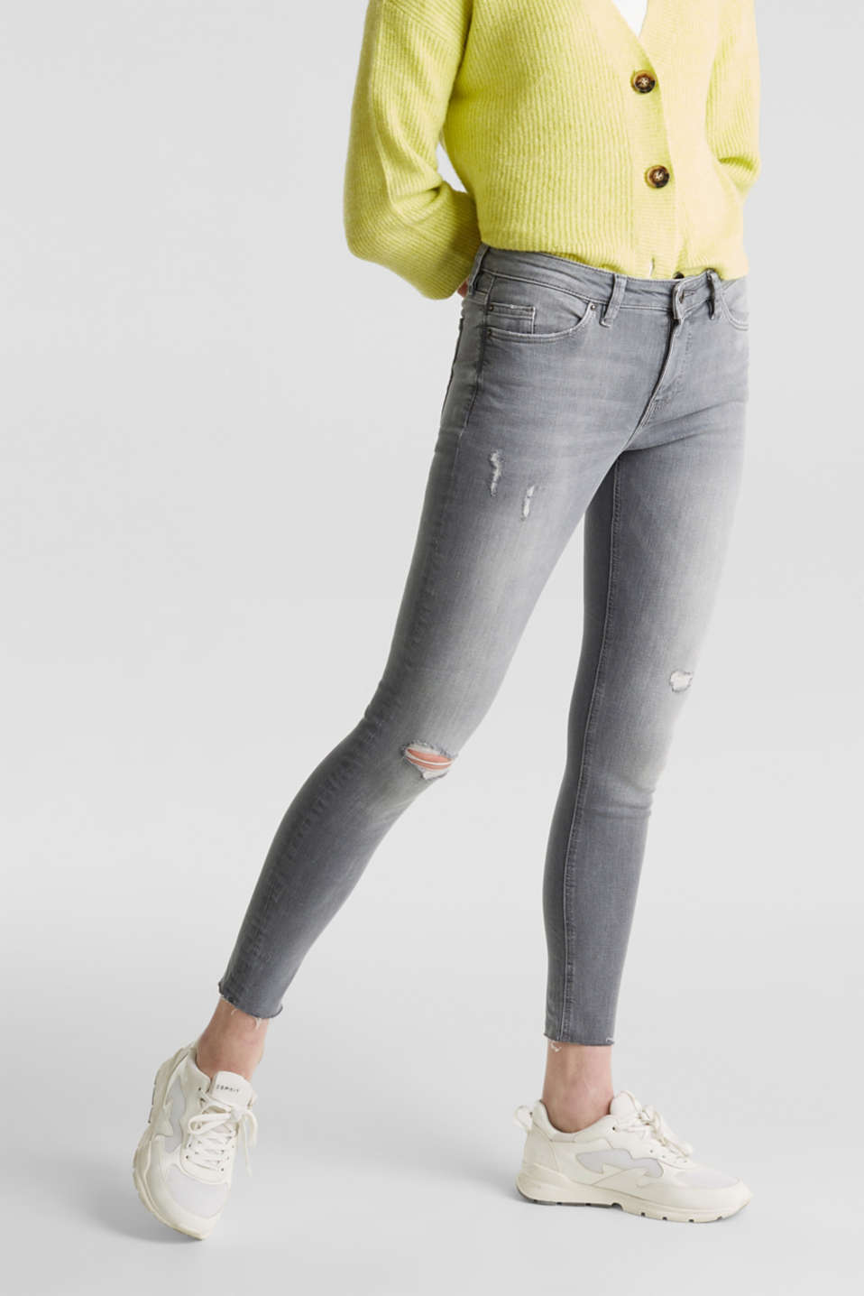 Ankle-length jeans with a vintage finish, GREY LIGHT WASH, detail image number 6