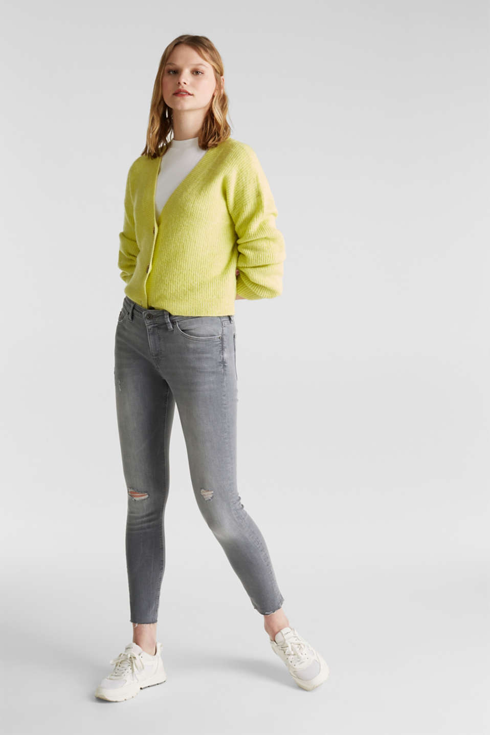 Ankle-length jeans with a vintage finish, GREY LIGHT WASH, detail image number 1