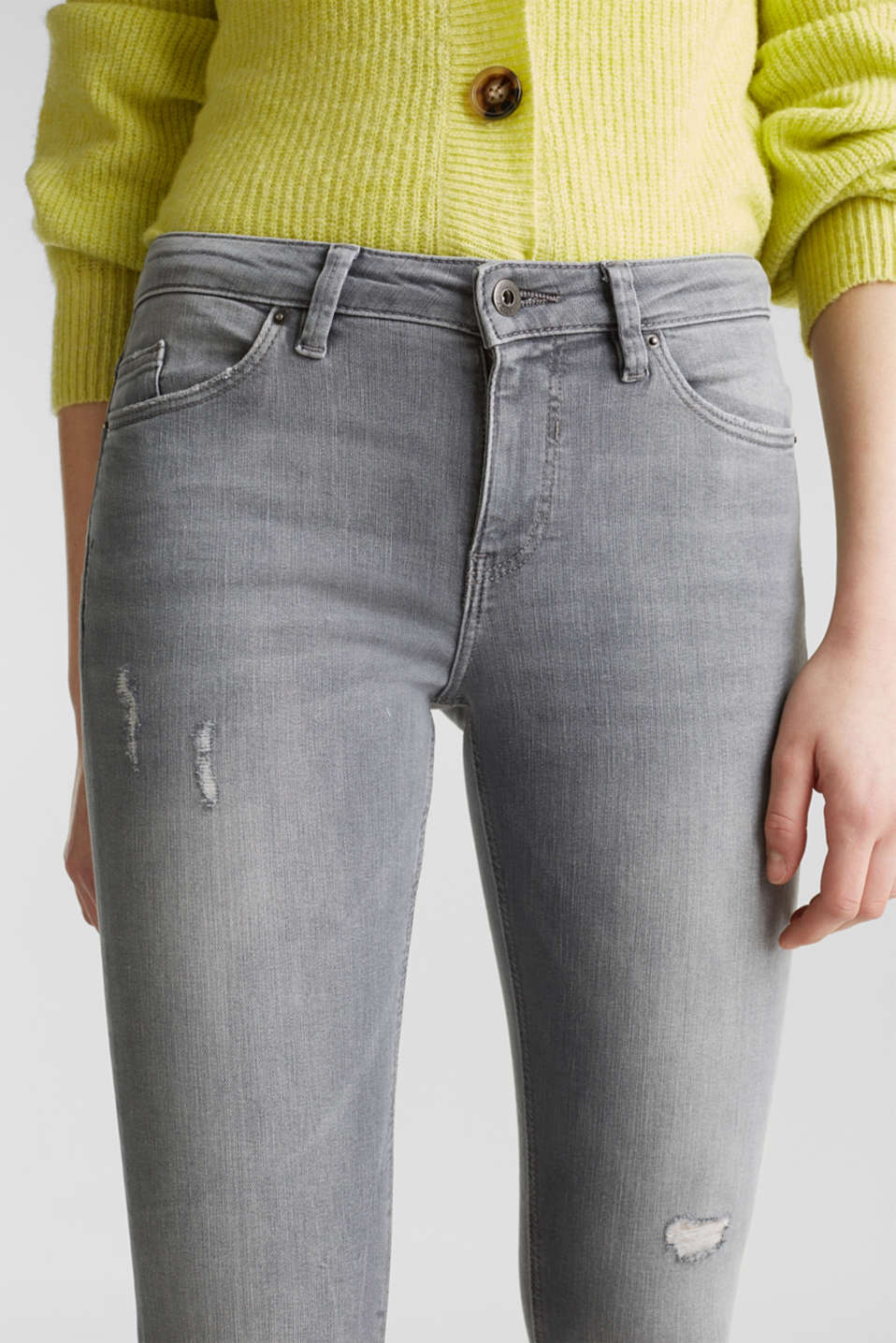 Ankle-length jeans with a vintage finish, GREY LIGHT WASH, detail image number 2