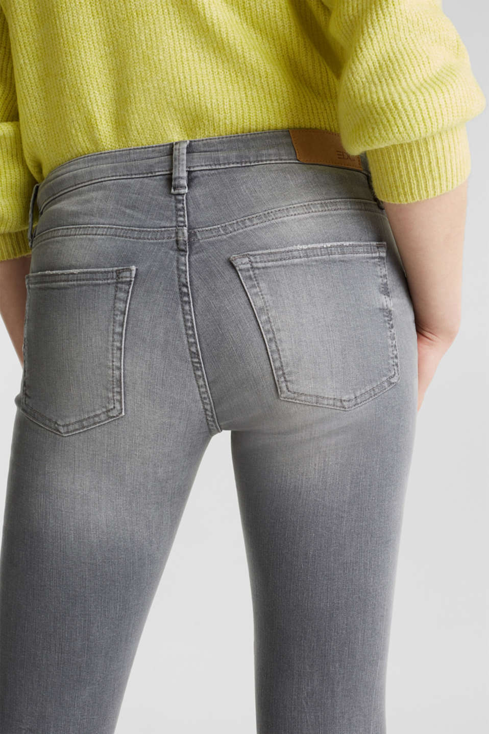 Ankle-length jeans with a vintage finish, GREY LIGHT WASH, detail image number 5