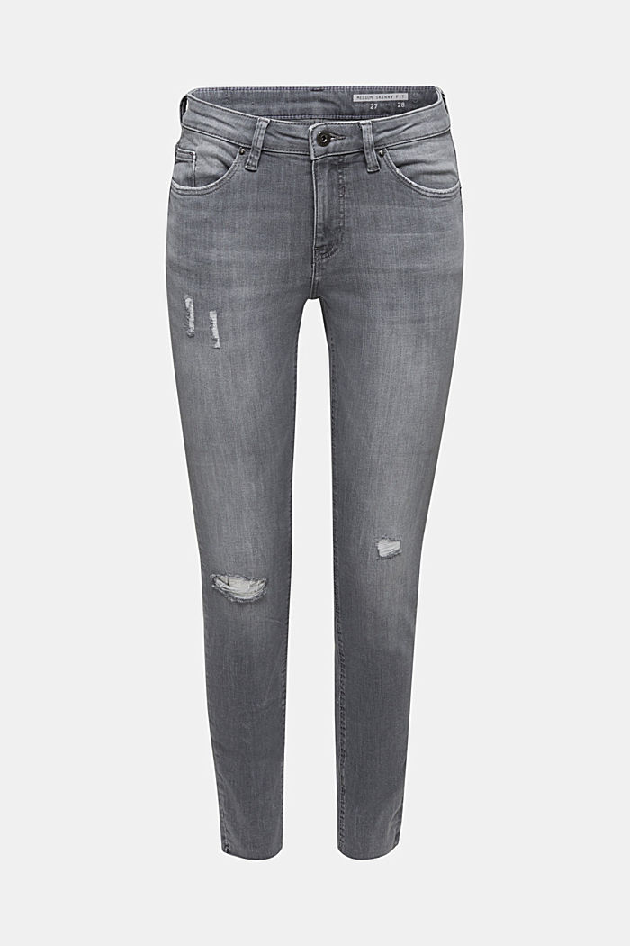 Knöchellange Jeans mit Used-Effekten, GREY LIGHT WASHED, detail image number 0