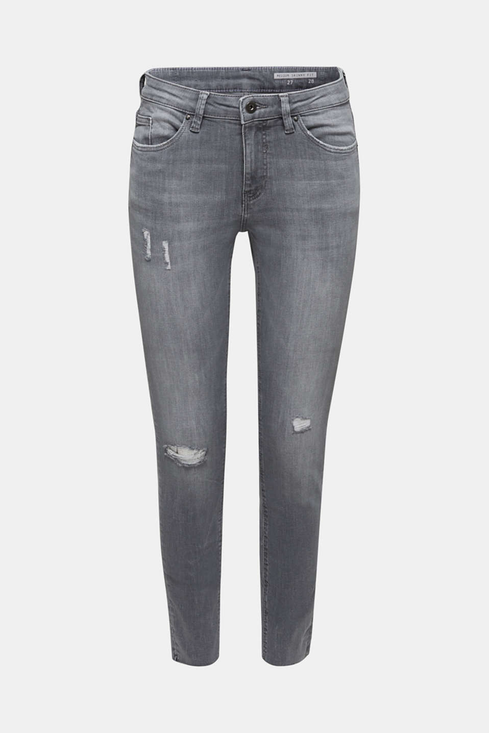 Ankle-length jeans with a vintage finish, GREY LIGHT WASH, detail image number 7