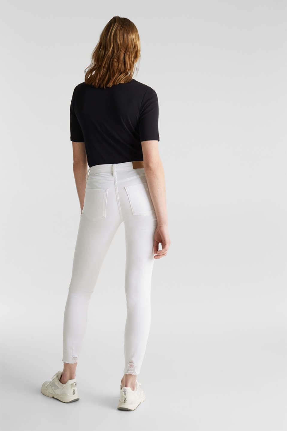 Ankle-length jeans in a distressed look, WHITE, detail image number 3