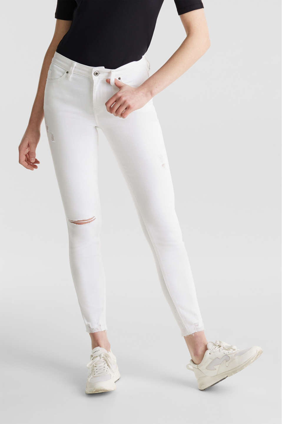 Ankle-length jeans in a distressed look, WHITE, detail image number 6