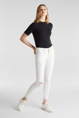 Ankle-length jeans in a distressed look, WHITE, detail