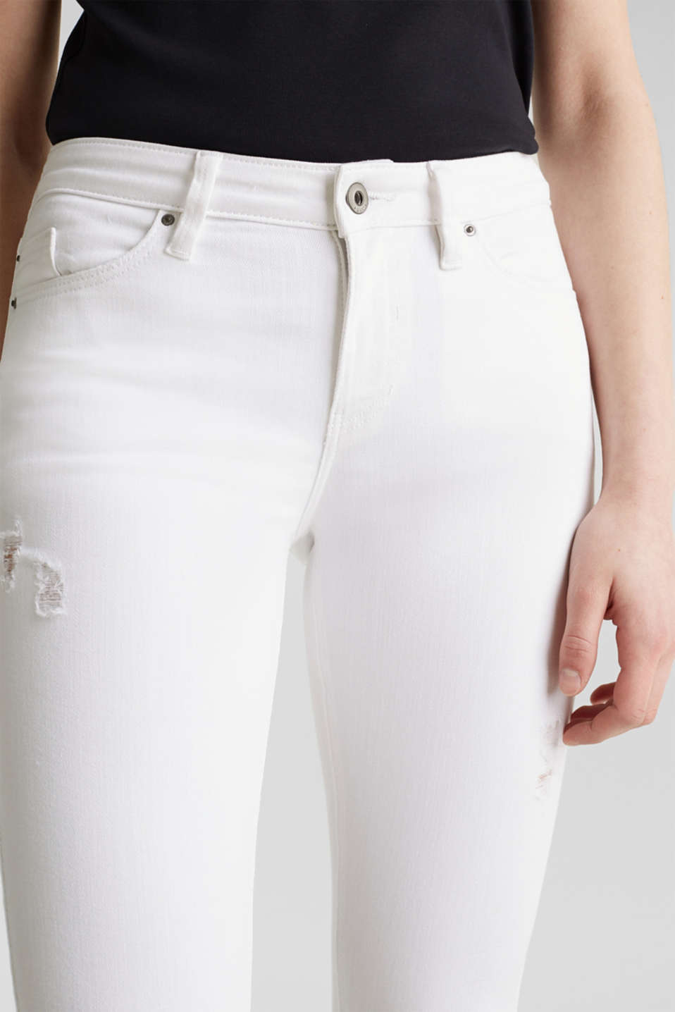 Ankle-length jeans in a distressed look, WHITE, detail image number 2