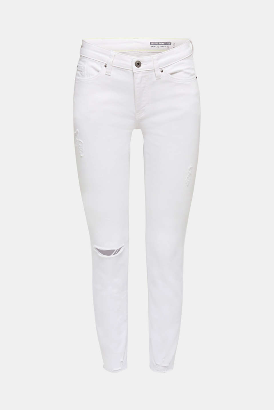 Ankle-length jeans in a distressed look, WHITE, detail image number 7