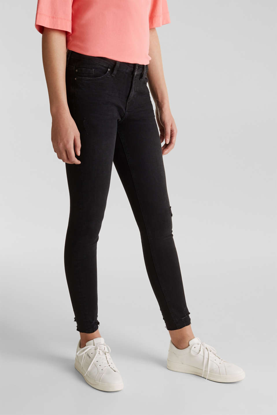 edc - Jeans met superstretch in een used look