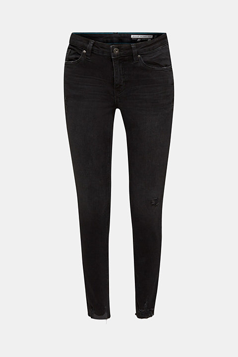 Super stretchy jeans with distressed effects