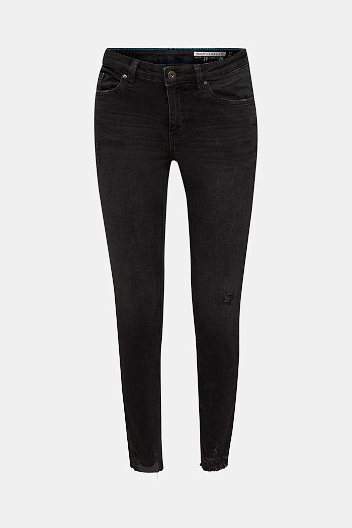 Super strečové džíny v obnošeném vzhledu, BLACK DARK WASHED, detail image number 0