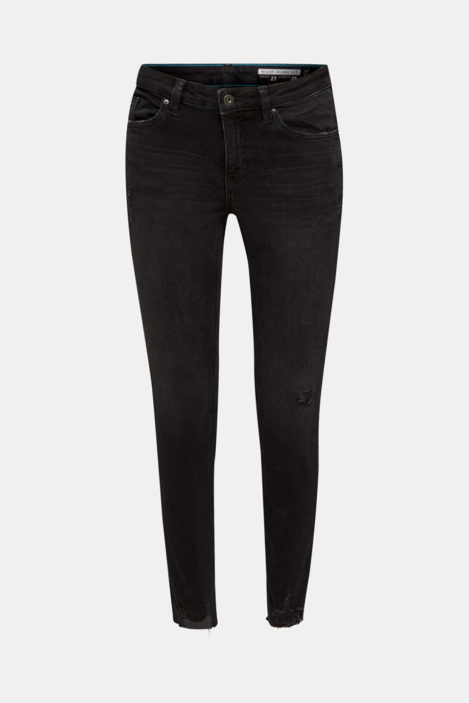 Super stretch jeans in a vintage look, BLACK DARK WASH, detail image number 7