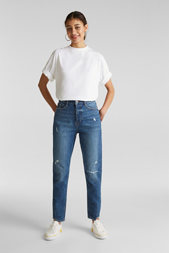 Vintage-finish jeans with high-low hems