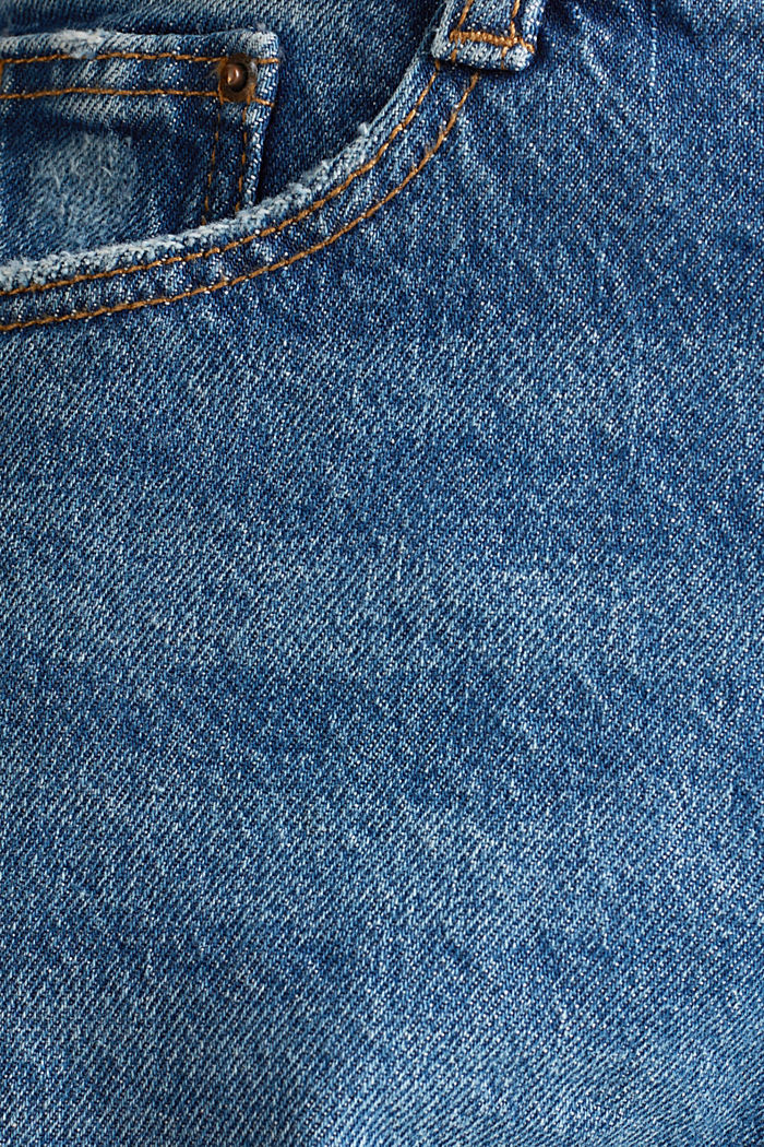 Used-Look-Jeans mit High-Low-Säumen, BLUE MEDIUM WASHED, detail image number 4