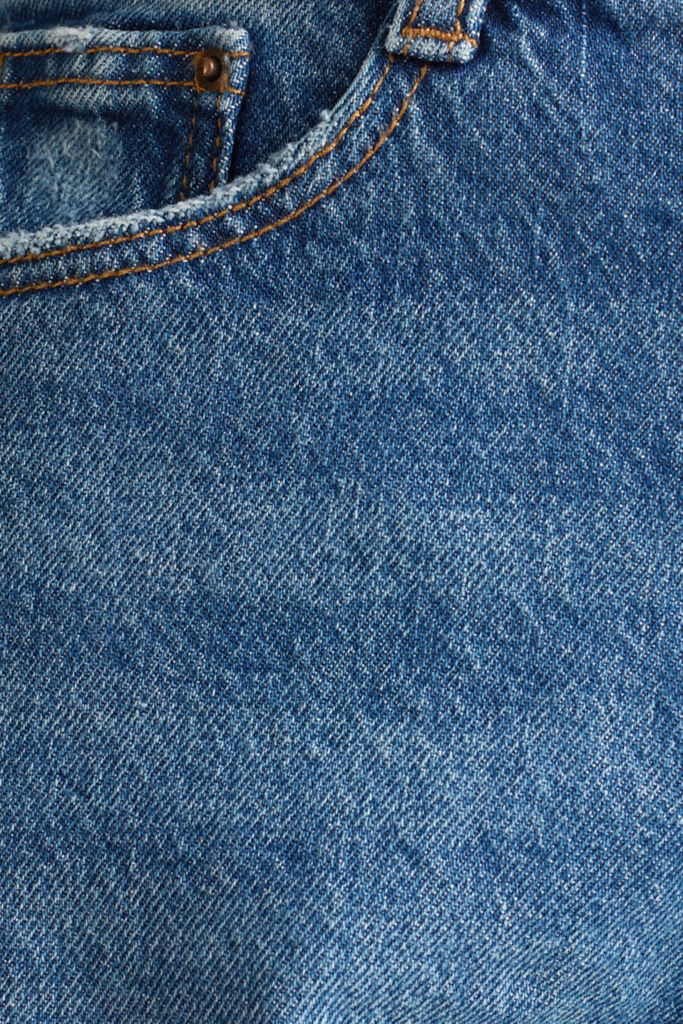 Vintage-finish jeans with high-low hems, BLUE MEDIUM WASH, detail image number 4