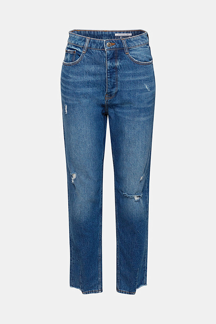 Used-Look-Jeans mit High-Low-Säumen, BLUE MEDIUM WASHED, detail image number 7